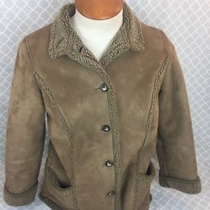LL Bean Brown Faux Suede Sherpa Lined Coat Jacket